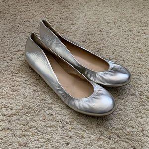 JCrew Cece ballet flats in silver leather size 9.5